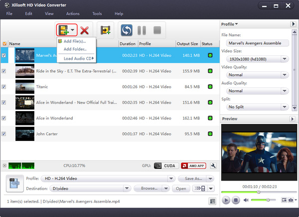 Convert HD video to SD, HD video converter