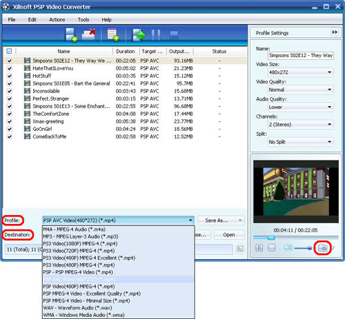 FLV to PSP converter - profile