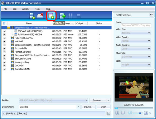 Convert videos to MP4 for PSP, PSP Video Converter